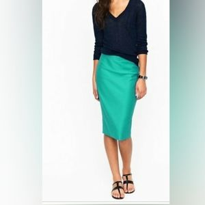 j crew #2 pencil skirt double serge wool turquoise
